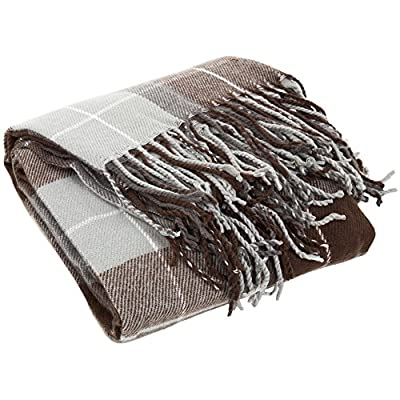 Lavish Home Cashmere-Like Throw Blanket, Brown - Material: 100Percent Acrylic Pattern: plaid Style: cashmere-like - blankets-throws, bedroom-sheets-comforters, bedroom - 51GQm1PBjML. SS400  -