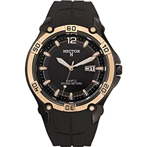 Hector H 665050 - Reloj analógico de cuarzo para hombre con correa de plástico, color negro