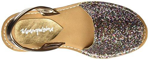 Menorquísima 12986700, Sandalias con Plataforma Plana para Mujer Plateado (Glitter Platino)
