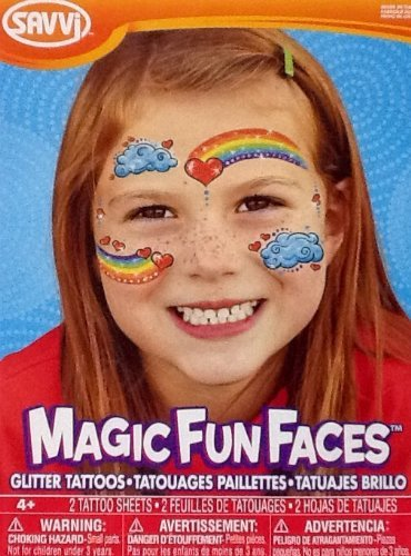 (Temporary Tattoos ~ Glitter Rainbow Face Magic Fun Faces ~ 2 Sheets)