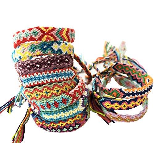 Rimobul Nepal Woven Friendship Bracelets - 12 Pack]()