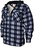 Men's Heavyweight Flannel Zip Up Fleece Lined Plaid Sherpa Hoodie Jacket (A05 - Navy White, M)