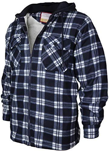 (Men's Heavyweight Flannel Zip Up Fleece Lined Plaid Sherpa Hoodie Jacket (A05 - Navy White, XL))