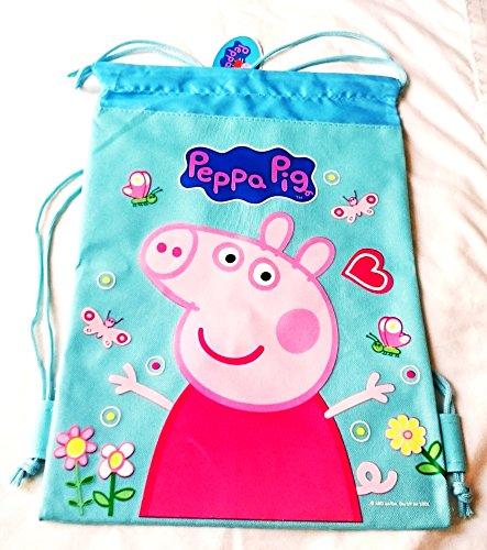 itisyours Drawstring Backpack Gym School Bag Authentic Licensed Disney Pixar Nickelodeon Cartoon Character (Peppa Pig Blue)]()