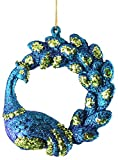 Divine Regal Peacock With Deluxe Curved Tail Christmas Ornament