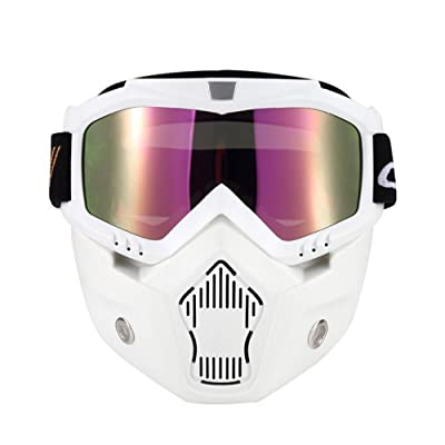 KKmoon Mortorcycle Mask Detachable Goggles and Mouth Filter for Open Face Helmet Motocross Ski Snowboard (White): Automotive