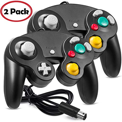 2 Pack iNNEXT NGC Controller, GC Classic Wired Controller Compatible with NGC Wii Wii U, 1.8m/5.9ft (Black)