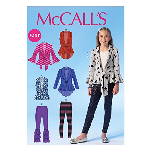 McCall Pattern Company M7042 Girl's/Girl's Plus Vests, Cardigans and Leggings Sewing Template, GRL (7-8-10-12-14)