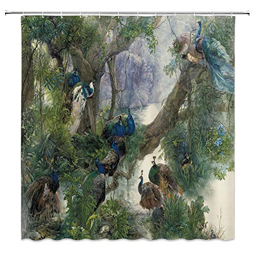 dachengxing Peacock Shower Curtain Fantasy Animal Decor Peacock Familly Pearching on Old Tree River Bank Wetland Jungle Scenic,Waterproof Gray Green Fabric Bathroom Hooks Included 70x70 - Fabric Advantage Wetlands