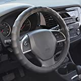"""BDK EF218 Genuine Leather Car Steering Wheel Cover 15.5""""-16.5"""" (Large/Black) - Universal Fit, Easy Installation"""