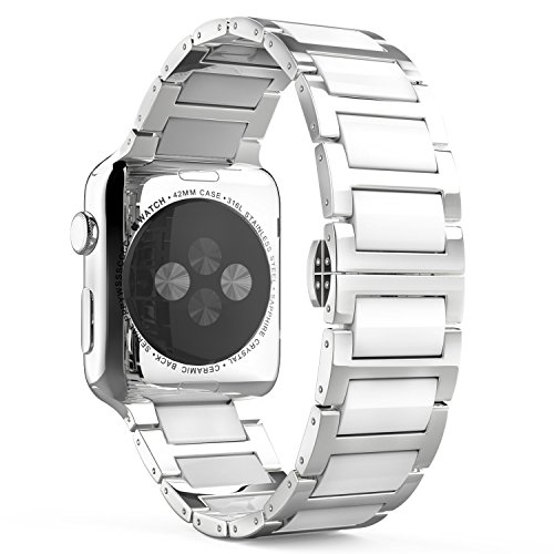 MoKo-Compatible-Band-Replacement-for-Apple-Watch-42mm-44mm-Series-4321-Stainless-Steel-Ceramics-Link-Replacement-Strap-Bracelet-with-Butterfly-Buckle-Clasp-White-Not-Fit-iWatch-38mm-40mm
