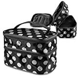 Zodaca Portable Cosmetic Bag Toiletry Travel Kit Organizer with Handle/ 2 Layer Storage for Makeup Brushes & More, Black/White Dot