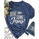Women Love Me Some Jesus Letter Print T Shirt Short Sleeve Casual Tops Tee (Medium)