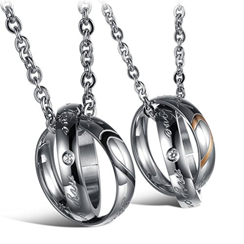 His & Hers Stainless Steel Couple Necklace Engraved