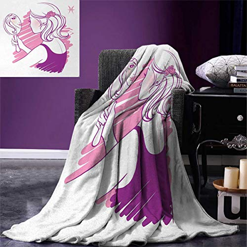 Anniutwo Zodiac Gemini Super Soft Blanket Young Teenage Girl on Pink Looking at Herself in The Mirror Oversized Travel Throw Cover Blanket 90''x70'' Purple Pale Pink White by Anniutwo