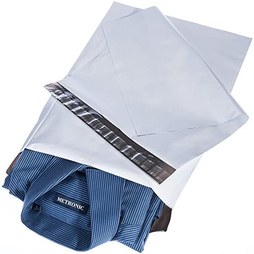 Metronic 100pack 14.5×19 Poly Mailers Envelopes Mailing Bags White Shipping Bag with Self Adhesive,Waterproof and Tear-Proof Postal Bags