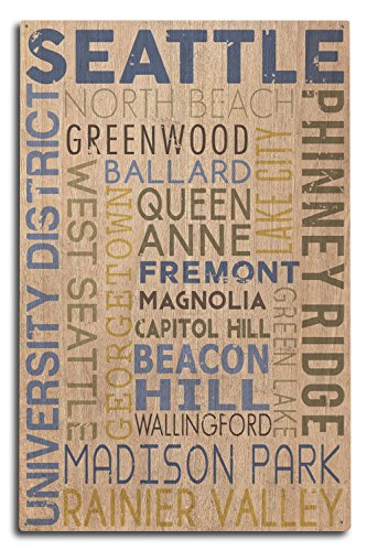 Lantern Press Seattle, Washington - Neighborhoods Typography (10x15 Wood Wall Sign, Wall Decor Ready to Hang) -