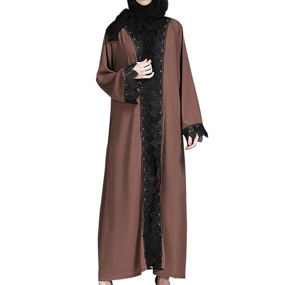 49c428fe909 Deylaying Musulman Femmes Cardigans Robe avec Ceinture Épissure Dentelle  Longue Manteau Islamique Moyen Orient Turquie Vêtements