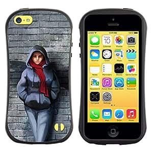 Paccase / Suave TPU GEL Caso Carcasa de Protección Funda para - Brick Wall Scarf Winter Outfit City Style Girl - Apple Iphone 5C