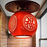 Lilamins Chinese Wooden Ceiling Light Jingdezhen Chinese Red Glaze Ceramic Balcony Aisle Pass Single Head Ceiling Lamp Blessing Word, 16 15Cm