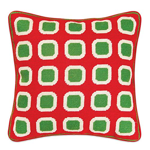 Hand-Stitched Christmas Block Needlepoint Throw Pillow -