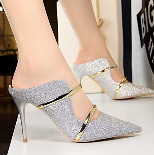 Sexy avec Européen Argent Haut Discothèque Nouveau Chaussures Mode Talon Été Femmes Mot Américain Et Paillettes Cool avec Fine XIAOQI Pantoufles qIxxB8F
