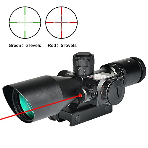 MidTen Rifle Scope 2.5-10x40e Dual Illuminated Mil-dot Gun Scopes with Red Laser & 11mm 20mm Mounts