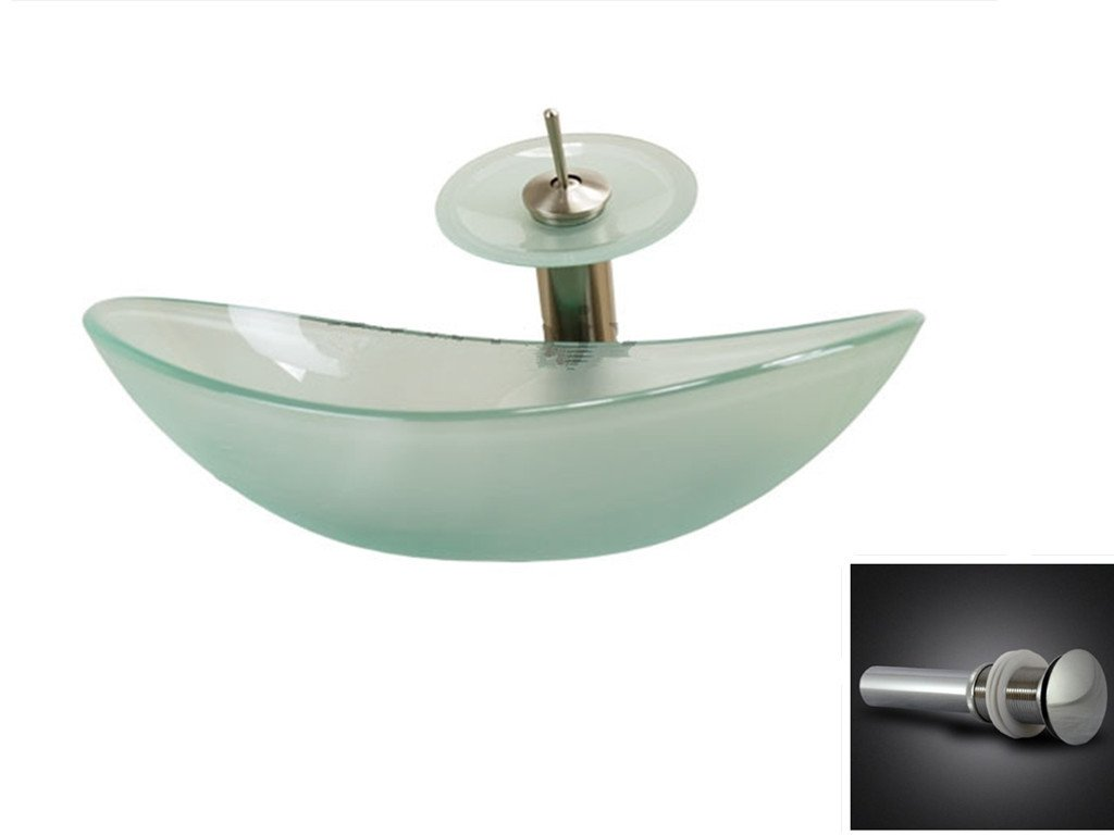 70 Off Bathroom Frosted Boat Oval Glass Vessel Vanity Sink With Waterfall Faucet Chrome Hp 4178
