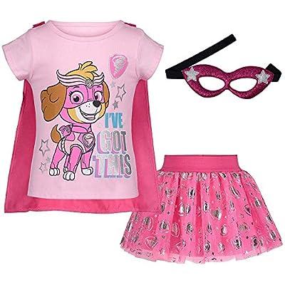 Paw Patrol Skye Girls' Costume Set: T-Shirt, Skirt, Cape and Mask: Clothing