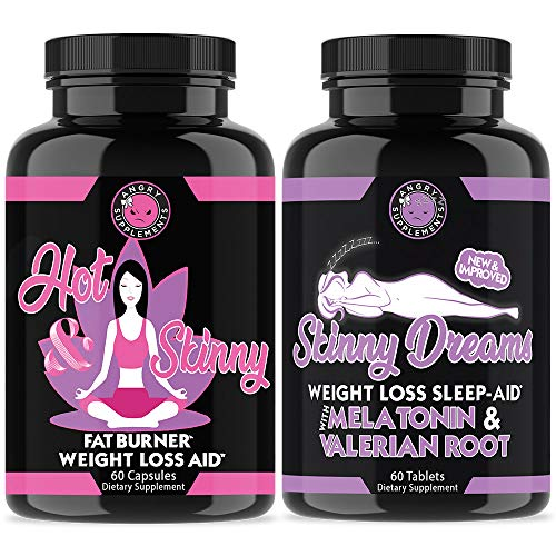 (Angry Supplements Hot & Skinny Thermogenic + Skinny Dreams Sleep Aid Women's Weight Loss Combo (2-Pack Bundle), Day and Night-time Diet Pills, Fast Fat Burning, Non-GMO, Starter Kit (2-Pack,120ct))