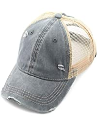9acd59e8 Exclusives Hatsandscarf Washed Distressed Cotton Denim Ponytail Hat  Adjustable Baseball Cap (BT-13)
