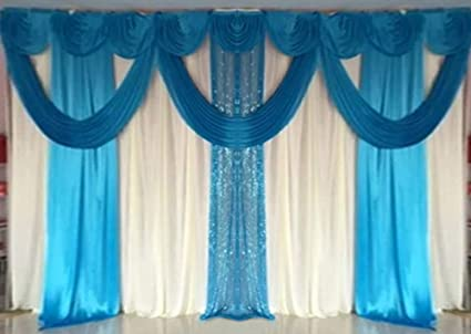 Lb Romantic Wedding Stage Backdrop Swags Curtains Blue Silk Fabric Sequin Backdrop Drape Party Decorations Backdrop For Wedding Birthday Party