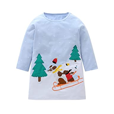df097d92f Toddler Kids Baby Girl Dresses Cartoon Rainbow Striped Long Sleeve Pocket  Party Birthday Daily Wear Spring