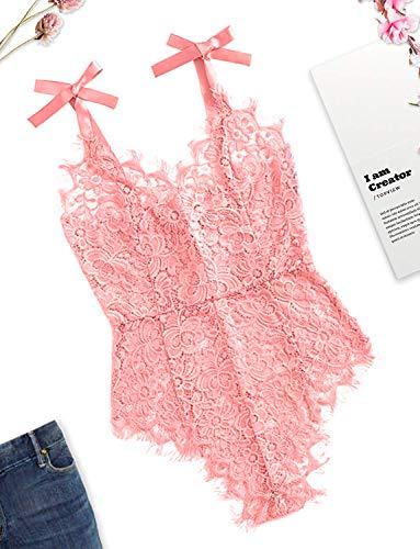 Slutty Lace Eyelash Bodysuit for Women Sexy Teddy Lingerie Naughty Negligee Black Bodysuit (Medium, 08-Pink) (Naughty Adult Lingerie)
