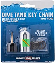 Innovative Scuba Concepts Scuba Diving Tank O-Ring Dive Kit Keychain with Pick - Silver