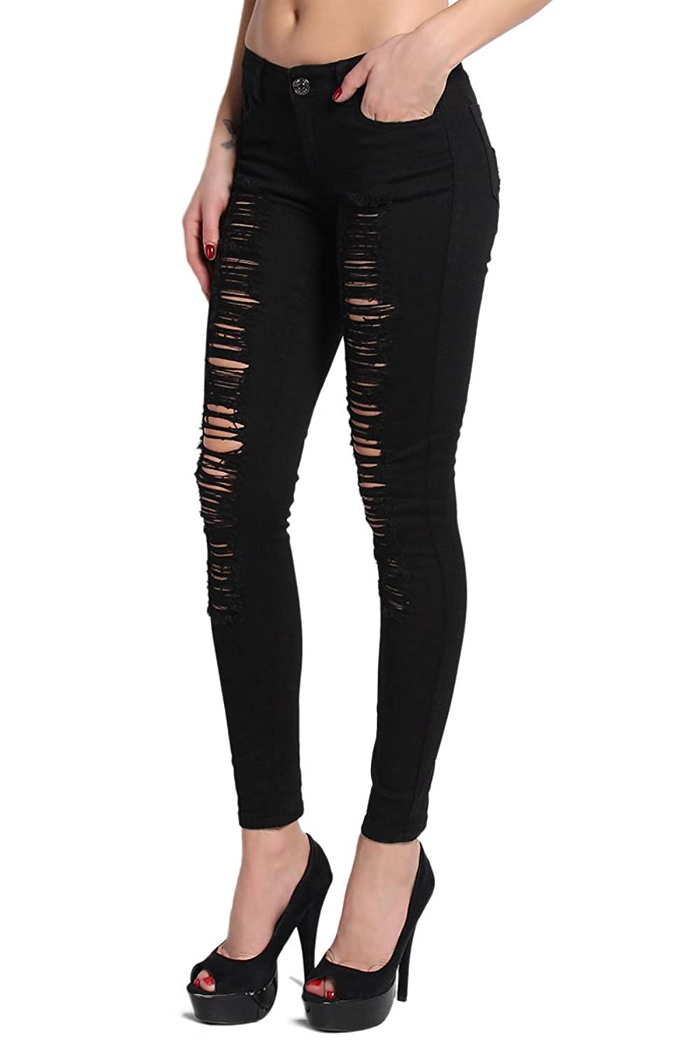 J&C BLACK & WHITE Distressed Rip Destroy Stretch Denim JEANS ...