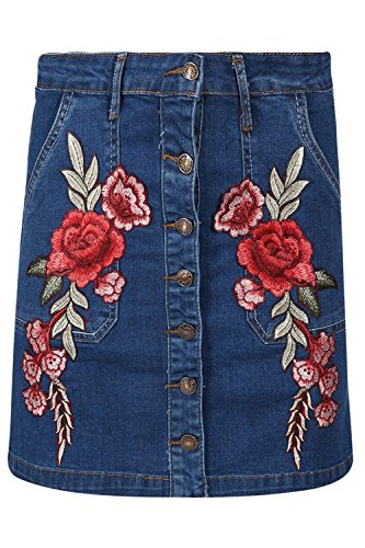 (Be Jealous Women Ladies Front Button Pocket Rose Embroidered A-Line Denim Jean Mini Skirt)