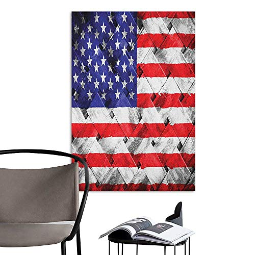 (Jaydevn Home Decor Decals Mural USA Fourth of July Independence Day Thatch Rattan Rippled Weave Bamboo Graphic Art Navy Blue Red White Men's Room Wall W16 x)