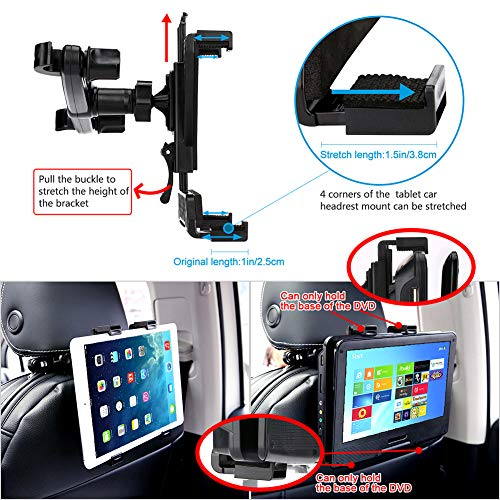 "YOOHOO Car Headrest Mount, Tablet Headrest Holder, 360° Rotating Adjustable Holder for All 7""- 13"" Tablet iPad, 9'' DVD Player Holder for Car Backseat Seat Mount"