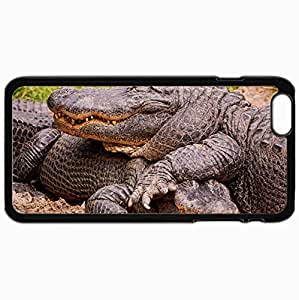 Customized Cellphone Case Back Cover For iPhone 6 Plus, Protective Hardshell Case Personalized Crocodiles Steam Design Land Black