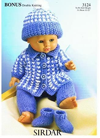 Amazon Sirdar 3124 Bonus Double Knitting Dolls Clothes Pattern