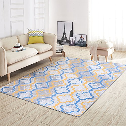Junovo Nylon Area Rugs Anti-slip Carpet Rugs for Living Room Dining Room Blue Mats (Moroccan Style, 5 x 7.5 Feet)