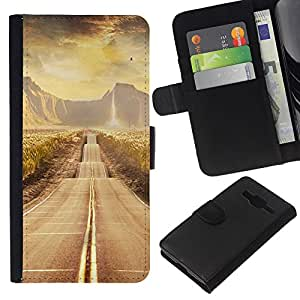 KLONGSHOP // Tirón de la caja Cartera de cuero con ranuras para tarjetas - Paisaje Camino - Samsung Galaxy Core Prime //