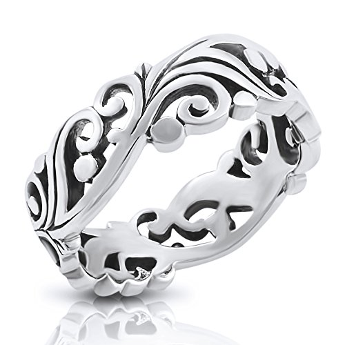 Sterling Silver Filigree Vine Leaf Leaves Band Ring - Size 9 (Sterling Silver Wide Filigree Band)