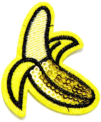 Banana Fruit Sequin Shine Shiny Disco Patch Sew Iron on Embroidered Applique Craft Handmade Baby Kid Girl Women Sexy Lady Hip Hop Cloths DIY Costume