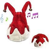 Christmas Singing Dancing Santa Hat Red Santa Cap with Plush Trim