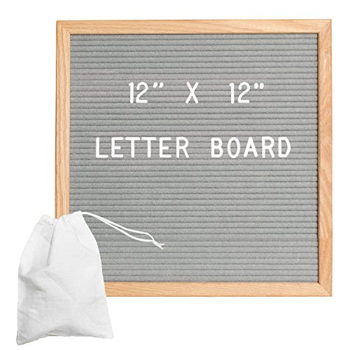 Gray Felt Letter Board with 650 Letters, Numbers & Symbols - 12x12 inch Changeable Message Board with Oak Wooden Frame, Plus Free Letter Bag by Ilyapa
