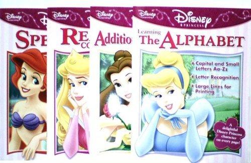 Princess Four - Disney Princess 4 Book Learning Set (Alphabet,Addition/Subtraction,Reading Comprehension,Spelling)
