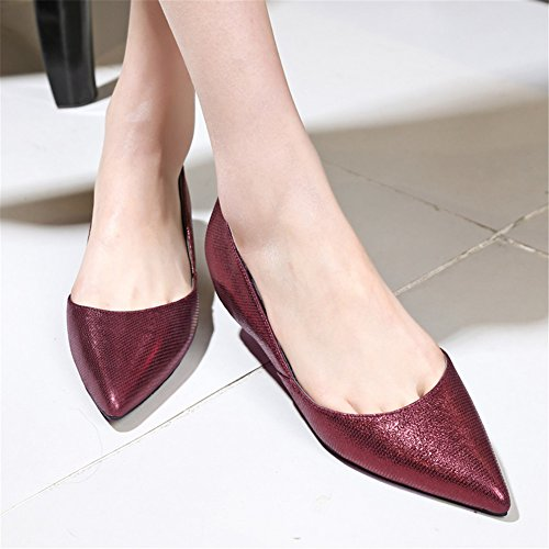 Minivog Donna Dorsay Flats Pump Shoes Rosso