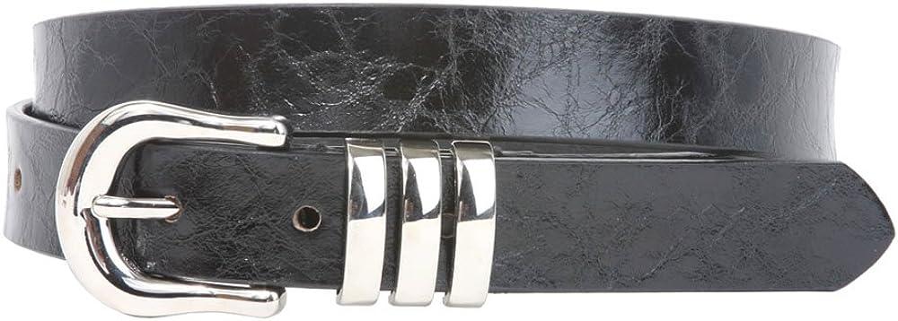 1 Triple Loop Faux Leather Skinny Belt